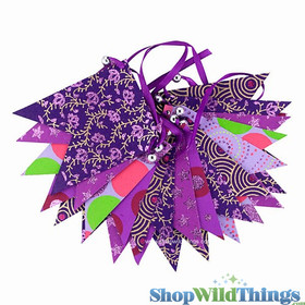 BOGO Bunting -  Paper Flag & Beads -  Purple Glitter - 10 Feet Long