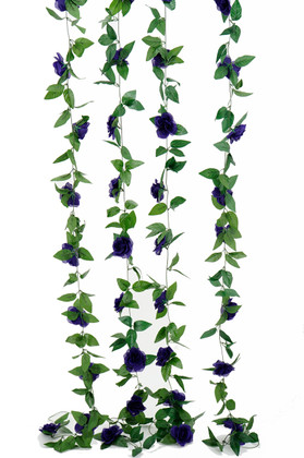 Artificial Purple Roses and Leaves Garland | 8Ft Long  Wedding and Event Decoration | ShopWildThings.com
