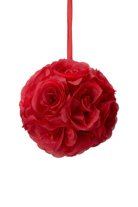 "Flower Ball - Silk Rose - Pomander Kissing Ball 6"" - Red"
