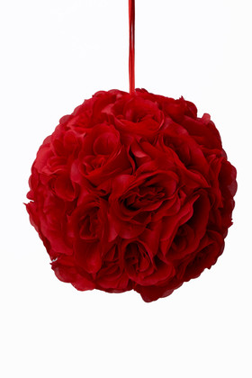 "Flower Ball - Silk Rose - Pomander Kissing Ball 8.5"" - Red"
