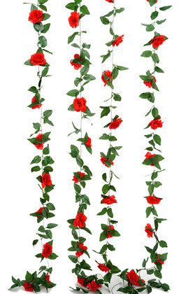 Artificial Red Roses and Leaves Garland | 8Ft Long  Wedding and Event Decoration | ShopWildThings.com