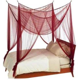 """Canopy """"Zanzibar"""" Deep Red Four Point Luxury Quality Mosquito Net"""