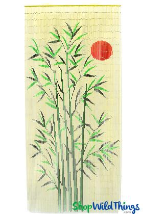 Bamboo Painted Curtain Red Sun Tree Scene Door Beads