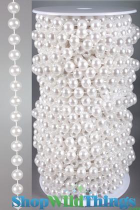Roll of Beads PREMIUM WEIGHT - 22 Yards (66 Feet) White Pearls 10mm Balls