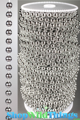 Roll of Beads 33 Yards (99 ft) - Faux 6mm Ball Chain, Bright Silver