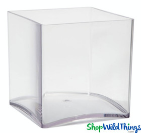 Vase - Acrylic Square - Clear 4in x 4in x 4in - Lightweight Cube Vase