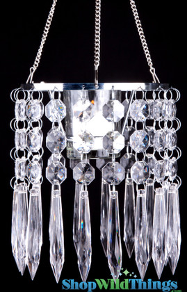 "Hanging Elegant Crystal Candle Holder ""Deedee"" - 6"" x 6"""
