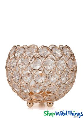 "Candle Holder - Round Beaded Real Crystal Votive - ""Prestige"" - 5"" Gold"