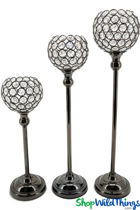 """Beaded Real Crystals Candle Holders - """"Prestige"""" Goblet Set of 3 - Metallic Charcoal"""