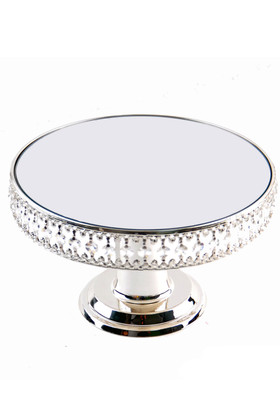 """Beaded Real Crystal Cake Stand / Centerpiece Riser Round with Mirrored Top - """"Prestige"""" - Silver - 1 Foot Wide"""