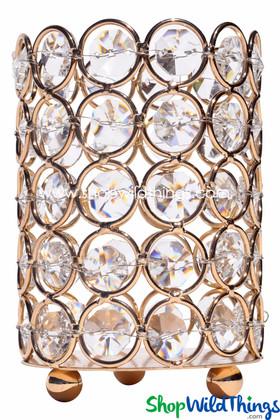 """Candle Holder - Cylinder Beaded Real Crystal - """"Prestige"""" - Crystal Gem Pillar - 4"""" Gold"""