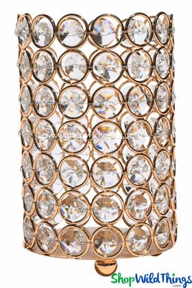"""Candle Holder - Cylinder Beaded Real Crystal - """"Prestige"""" - Crystal Gem Pillar - 6"""" Gold"""