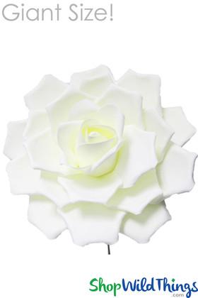 """Real Feel 17"""" Giant Foam Rose Ivory- Make Flower Walls"""