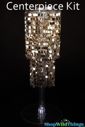 "Centerpiece Boost Kit - ""Shimmy"" Gold Beaded Centerpiece on 29"" Riser"