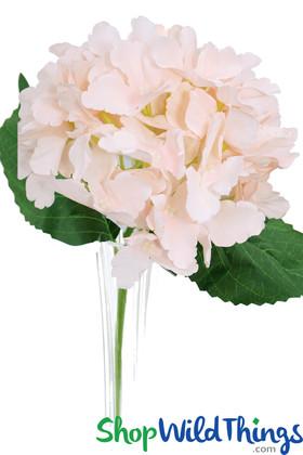 """Silk Hydrangea Bloom Blush Pink - Deluxe 6"""" Flower"""