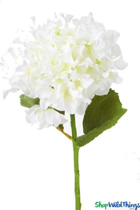 """Silk Hydrangea Bloom - White Spray - 8"""" Flower, 27"""" Stem"""