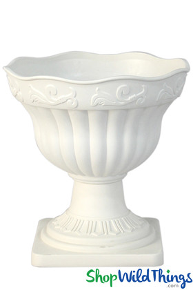 Flower Planter Urn Large Bowl on Stand, White Indoor/Outdoor Fancy