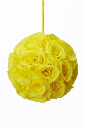 "Flower Ball - Silk Rose - Pomander Kissing Ball 8.5"" - Yellow"