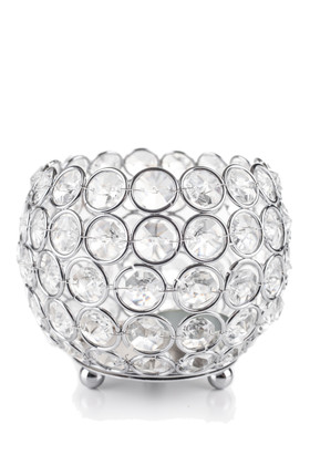"""Candle Holder - Round Beaded Real Crystal Votive -  """"Prestige"""" -  5"""" Silver"""