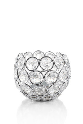 """Candle Holder - Round Beaded Real Crystal Votive -  """"Prestige"""" -  3"""" Silver"""