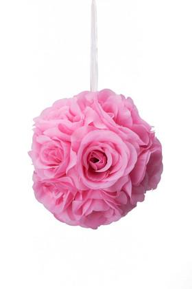 "Flower Ball - Silk Rose - Pomander Kissing Ball 6"" - Pink"