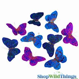 Garland -  Butterflies -  Dark Royals w/Glitter - 6.5 Feet Long