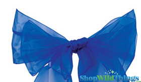 "BOGO Chair Bow/Table Runner Fabric 9"" x 10 ft - Sheer Royal Blue Organza -  6 Pc Set"