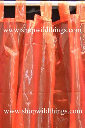 Curtain Rust (Fiery Orange) Sheer Shiny Organza Tab Top