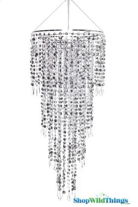 Chandelier Fifth Avenue 4 Tiers - Silver - 3 ft Long Event Chandelier