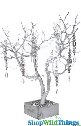 Natural Manzanita Tree in Wood Base - Matte Metallic Silver - 2 Feet Tall