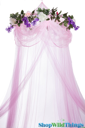 """BOGO Canopy """"Sleeping Beauty"""" Pink With Flower Garland Mosquito Net"""