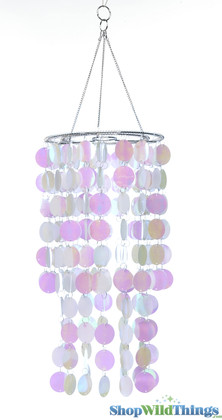 "Chandelier, Spangles (Fireproof PVC) White Iridescent - 8"" x 18"""