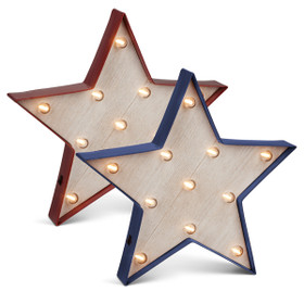 BOGO Vintage Style Marquee LED Lighted Star Symbol, Red and Blue, Set of 2 - Plastic Body