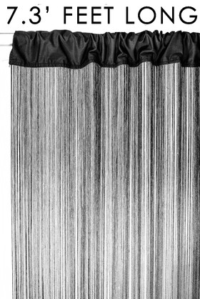 Black String Curtain Fringe Panel for Doors and Windows, 7' Long Rod Pocket Curtain Backdrop by ShopWildThings.com