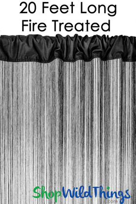 Black Fire Treated String Curtain Fringe Panel for Doors and Windows, 20' Long Rod Pocket Curtain Backdrop by ShopWildThings.com