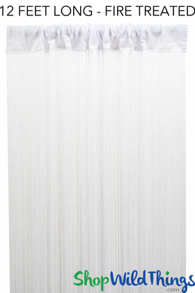 White Fire Treated String Curtain Fringe Panel for Doors and Windows, 12' Long Rod Pocket Curtain Backdrop by ShopWildThings.com