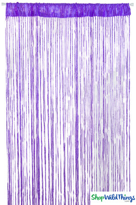 Purple Sparkle String Curtain Fringe Panel with Tension Rod for Doors and Windows, Rod Pocket Backdrop by ShopWildThings.com