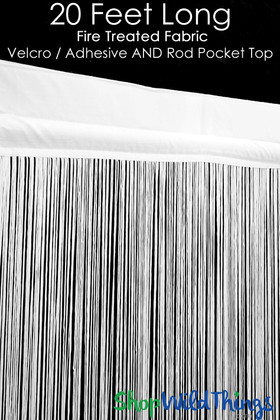 White Fire Treated String Curtain Fringe Panel for Doors and Windows, 20' Long Rod Pocket With Velcro Curtain Backdrop by ShopWildThings.com
