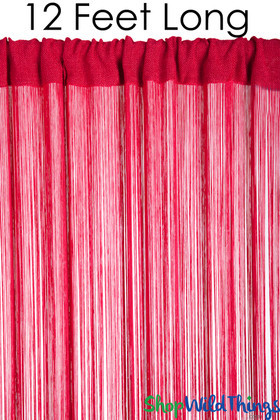 String Curtain Red 3 Ft x 12 Ft - Polyester & Cotton Nassau