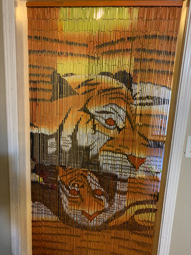 Tiger Mom and Cub Bamboo Beaded Curtain   ShopWildThings.com