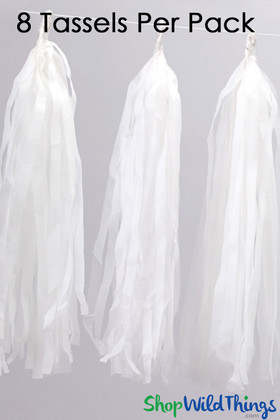 "Tissue Paper Garland Tassels, 12"" Long White"