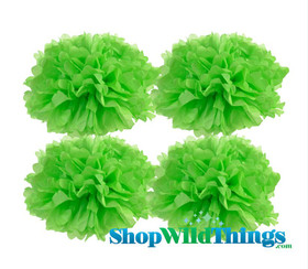 """BOGO Pom Poms 12"""" Tissue Paper - Light Lime - Set of 4"""