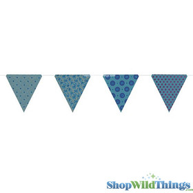 BOGO Bunting -  Paper Triangle -  Turquoise Glitter - 11 Feet Long