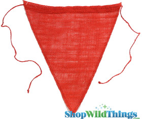 "1 LOT AVAILABLE! CLEARANCE Jute Triangle Banner 9.5x12"" - Red - 134 Pcs!"