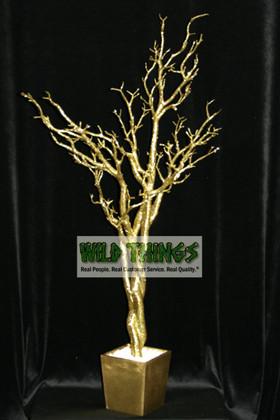 Tree in Pot, 4 Feet Tall - Bright Gold Glitter (Bendable!)