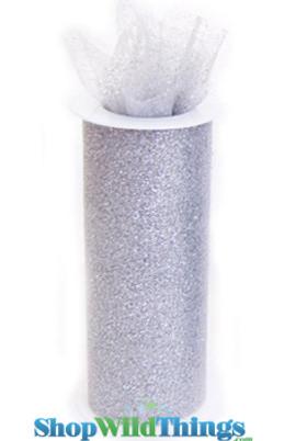 """Tulle Roll w/Glitter, Silver 6"""" x 10 yds"""