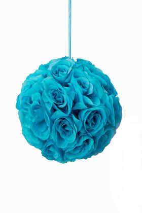 """Flower Ball - Silk Rose - Pomander Kissing Ball 8.5"""" - Turquoise"""