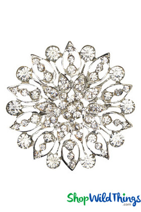 "Brooch Favor Decor ""Heidi"" - 2"" Rhinestone Starburst - Silver - Minimum 2 Pcs."