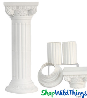 Height Adjustable Pedestal Stand, White Pillar Column for Home, Weddings and Events by ShopWildThings.com