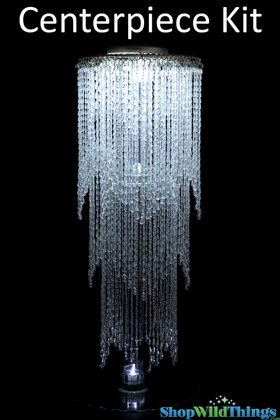 "Centerpiece Elevate Kit - ""Avalon"" Clear Beaded Centerpiece on 29"" riser"